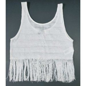 💰3/20$💰H&M white boho crochet fringe crop top
